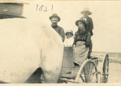Leo and Ursula (Trottier) Parenteau with two children in buggy 1921 Napoleon (1876-1968) was born to Isadore Parenteau and Judith Plante. Ursula (1877-1970)was the daughter of Jean Baptiste Trottier and Rose McGillis. They lived in a Métis settlement south of Lac Pelletier until 1924 when most of the family moved back to Montana. Daughters, Tillie and Annie stayed in Canada. The family had ties to the Rocky Boy reservation in Montana. Fonds / Collection: Barb Parchman and family fonds