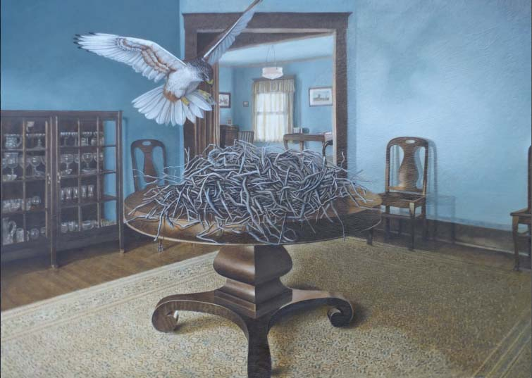Marsha Kennedy: House, Home, Habitat- Ferruginous Hawk, oils, paper, ink, birch panel, 2019